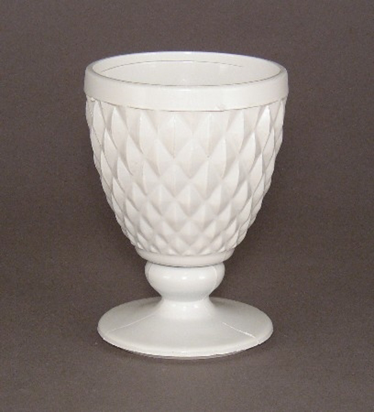 "Picture of Vase Painted White Glass  | 3.5""Dx5.25""H 