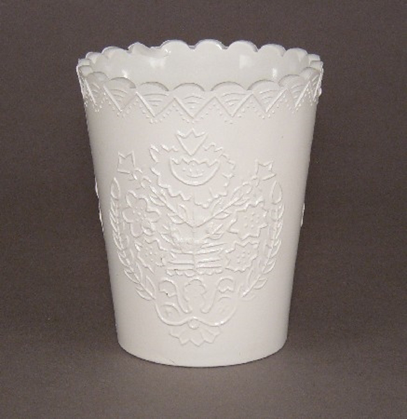 """Picture of Vase Tapered Painted White Glass  