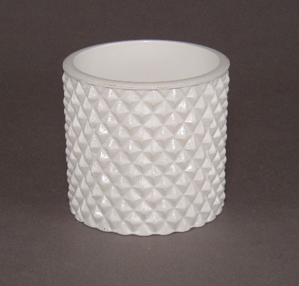 """Picture of Painted White Glass Votive Cylindrical    3.5""""Dx3.25""""H    Item No. K17051"""