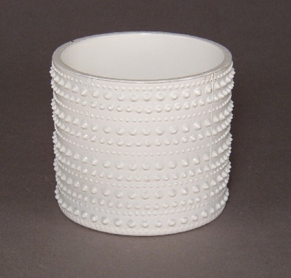 """Picture of Painted White Glass Votive Cylindrical 