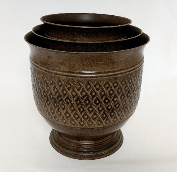 """Picture of Brown Patina on Metal Planter Round Embossed Pattern Nested Set/3   10""""-12""""-14""""Dia    Item No. K44112"""