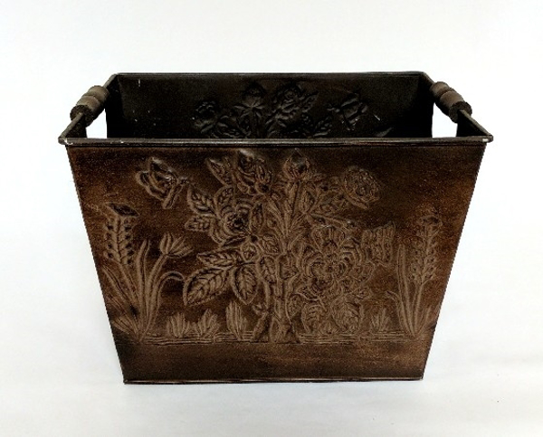 """Picture of Brown Finish on Metal Planter Embossed Wood Handles  