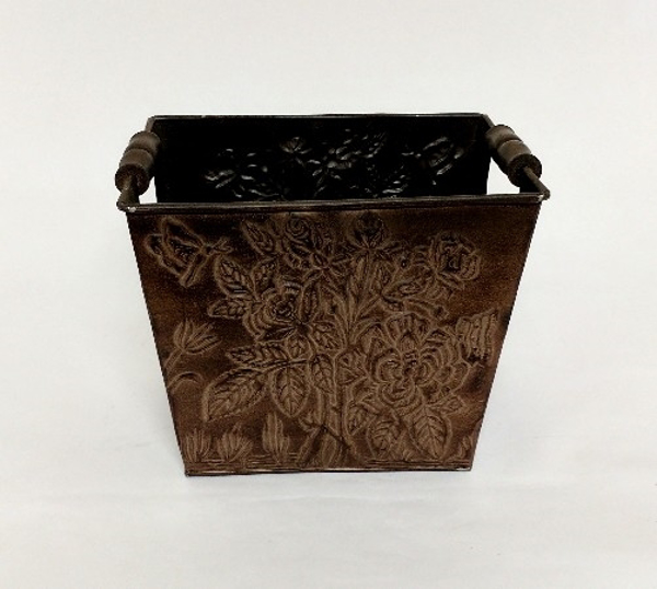 "Picture of Brown Finish on Metal Planter Embossed Wood Handles  | 8""Wx10""Lx8""H 