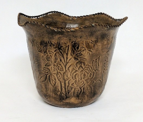 "Picture of Brown Metal Planter Tapered Embossed Wavy Border  | 11.5""Dx9.5""H 