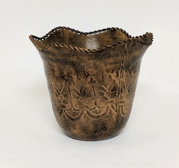 """Picture of Brown Metal Planter Tapered Embossed Wavy Border  