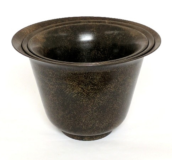 """Picture of Dark Brown Patina on Brass Planter Tapered Nested Set/3  