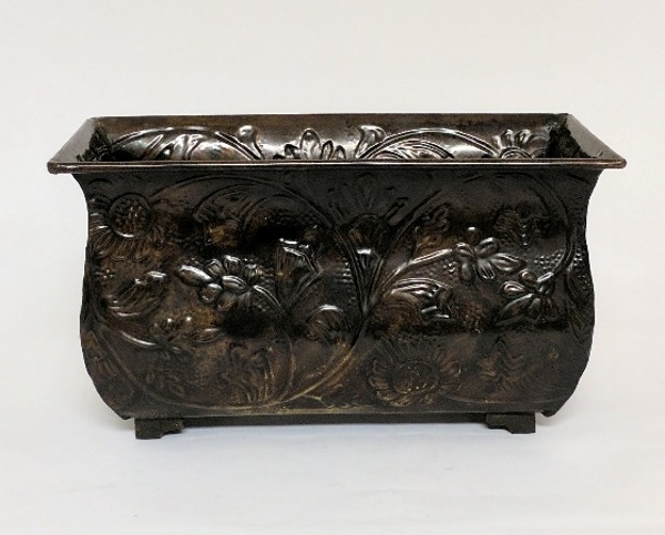 """Picture of Bronze Finish on Brass Planter Rectangle Embossed 4-Legs 