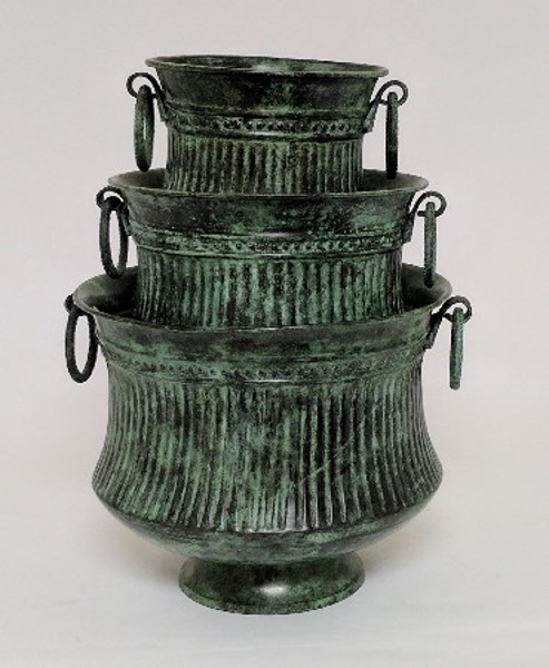 "Picture of Dark Green Patina on Brass Planter Round Ring Handles Fluted Lines Nested Set/3  | 5.25""-7""-8.5""D 