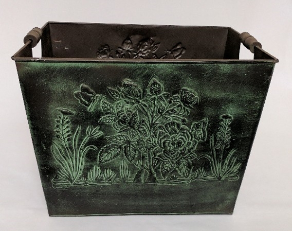 """Picture of Dark Green Patina on Brass Planter Rectangle Wood Handles  