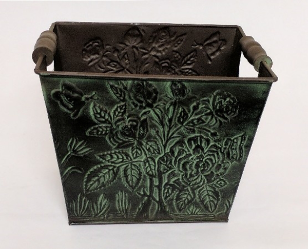 "Picture of Dark Green Patina on Brass Planter Rectangle Wood Handles  | 8""Wx10""Lx8""H 