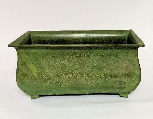 """Picture of Green Patina on Brass Planter Rectangle Etched Design 4-Legs  
