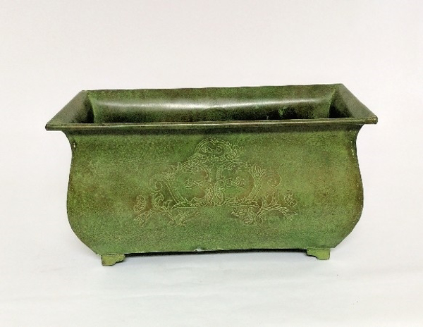 """Picture of Green Patina on Brass Planter Rectangle Etched Design 4-Legs    7.5""""Wx14""""Lx7""""H    Item No. K78116M"""