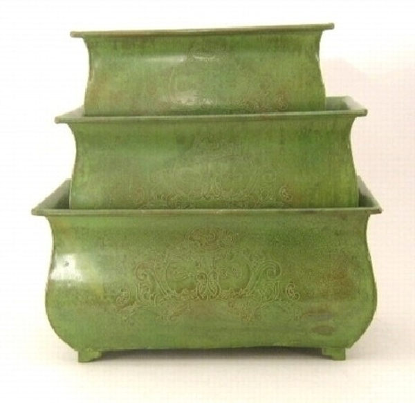 """Picture of Green Patina on Brass Planter Rectangle Etched Design 4-Legs  Nested Set /3  