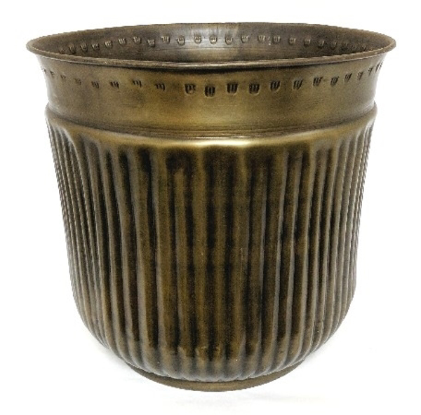 """Picture of Antique Gold Finish on Brass Planter Round Fluted For Large Silk Trees 