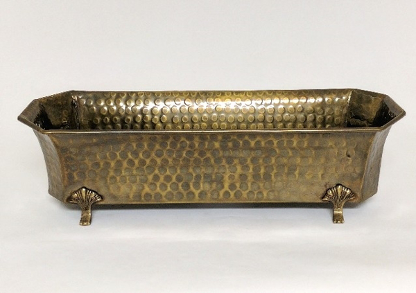 """Picture of Antique Gold Finish on Brass Planter Rectangle Window 4-Legs  