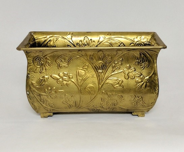 """Picture of Antique Gold Finish on Brass Planter Rectangle Embossed 4-Legs 