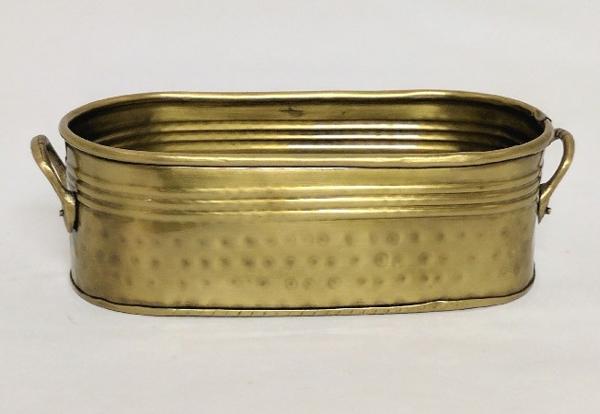 "Picture of Antique Gold Oblong Planter   #K37489   4""Wx9""Lx3""H"