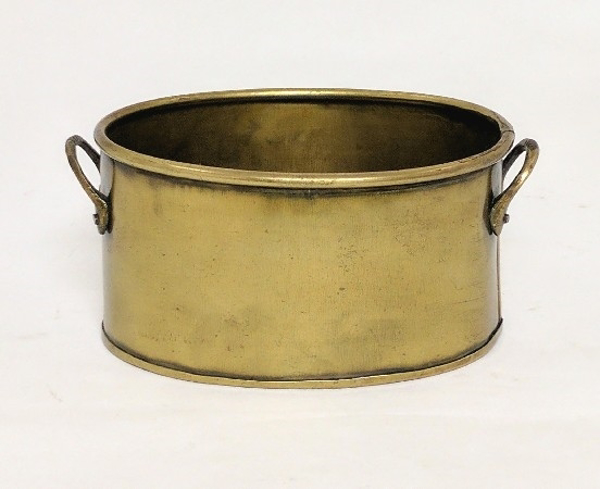 """Picture of Antique Gold Oval Planter   #K37484   4.25""""Wx5.75""""Lx3""""H"""