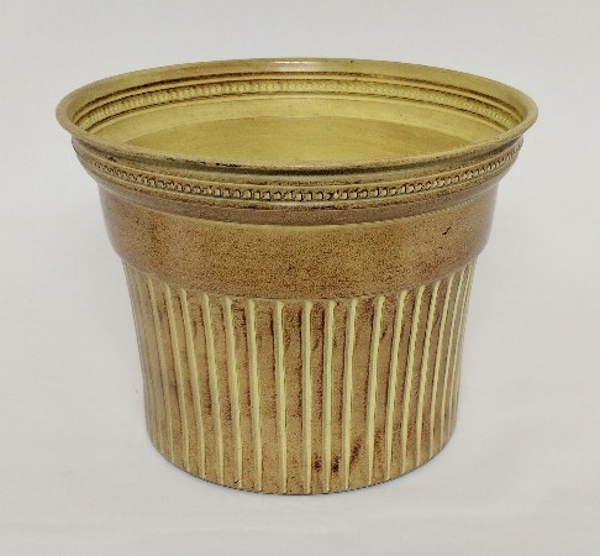 """Picture of Ivory Bucket Metal Planter Round Fluted For Silk Tree    12.5""""Dx9.5""""H    Item No. K53113L"""