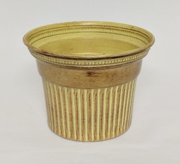 "Picture of Ivory Bucket Metal Planter Round Fluted For Plants  | 10.5""Dx8""H 