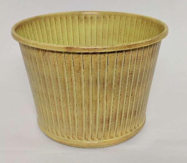 "Picture of Ivory Bucket Metal Planter Round Fluted For Silk Tree  | 14""Dx10.5""H 