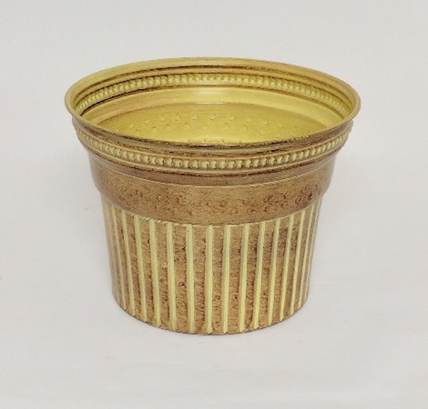"""Picture of Ivory Bucket Metal Planter Round Fluted For Plants  