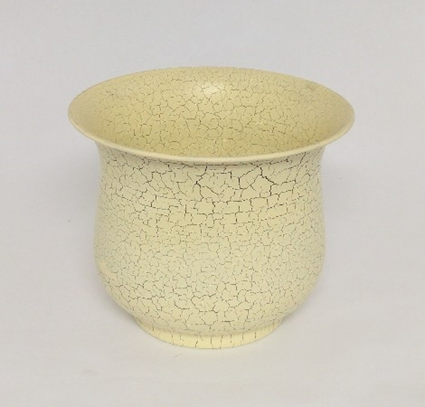 """Picture of Ivory Crackle Finish Metal Planter Round For Plants  