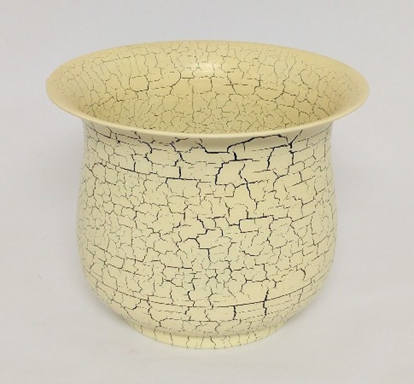 """Picture of Ivory Crackle Finish Metal Planter Round For Plants    10""""Dx8""""H    Item No. K23147M"""