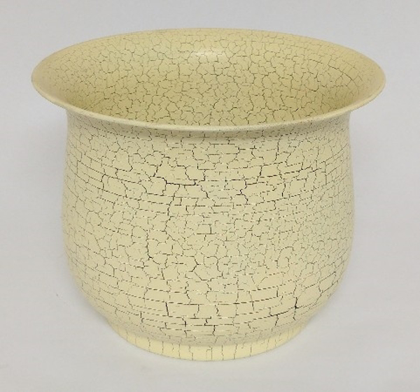 """Picture of Ivory Crackle Finish Metal Planter Round For Silk Tree  