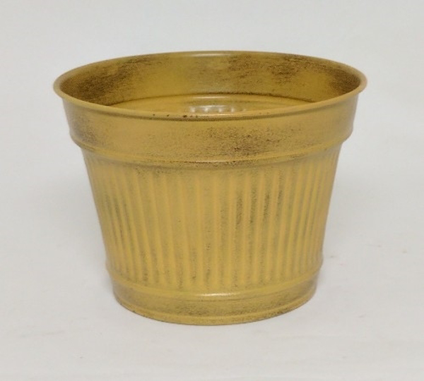 """Picture of Rustic Yellow Metal Planter Fluted Surface 