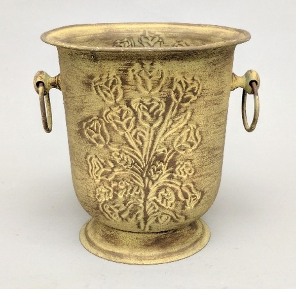 """Picture of Rustic Yellow Planter Embossed Ring Handles    8""""Dx9""""H    Item No. K39128"""