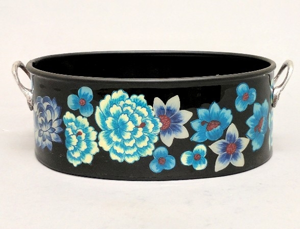 "Picture of Black Metal Planter Oval with Handles Floral Print   | 6""Wx8""Lx3""H 