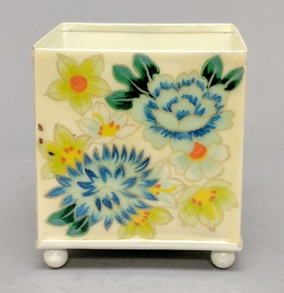 """Picture of Ivory Metal Planter Square Floral Print  4-Ball Feet 
