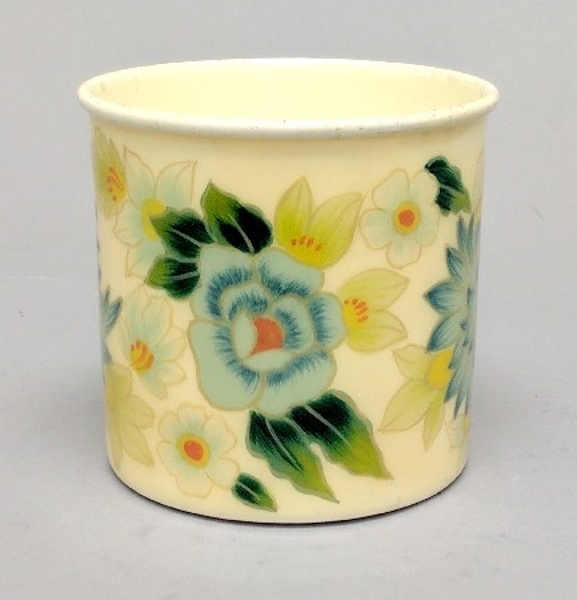 """Picture of Ivory Metal Planter Cylindrical Floral Print  