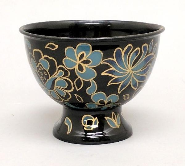 "Picture of Ivory Metal Bowl Planter Floral Print  | 5.25""Dx3.75""H |  Item No. K56014"