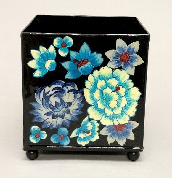 "Picture of Black Metal Planter Square Floral Print  4-Ball Feet | 4.75""Sqx5.25""H 