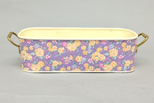 """Picture of Purple Metal Planter Oblong with Handles Floral Print  