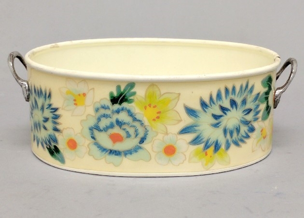 """Picture of Ivory Metal Planter Oval with Handles Floral Print  