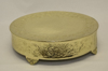 """Picture of Antique Gold Finish on Metal Cake Stand Embossed Top Border and Side 