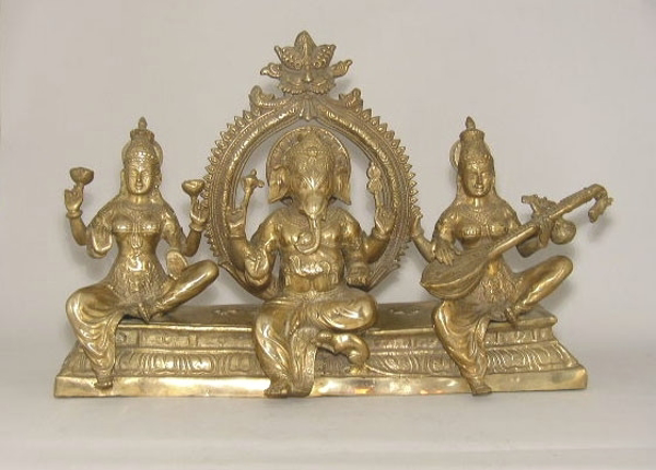 "Picture of Brass Statue of 3-Deities #MR006  8""x27""x17.5""H"