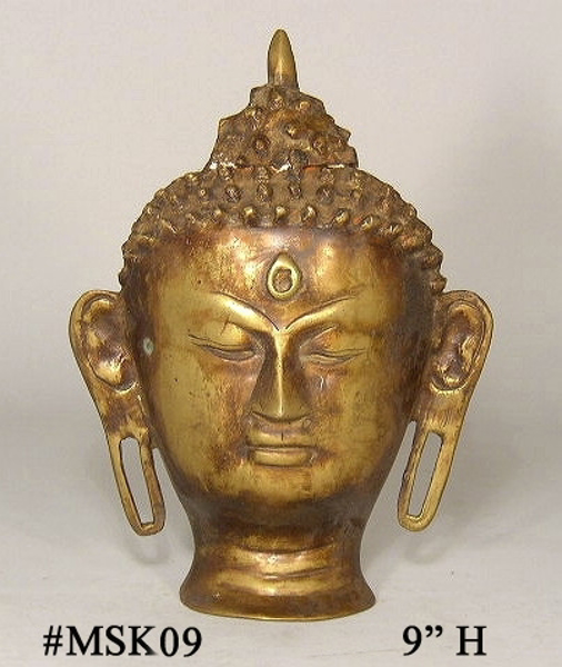 "Picture of Brass Wall Mask of Buddha #MSK09  6.5""Wx9""H"