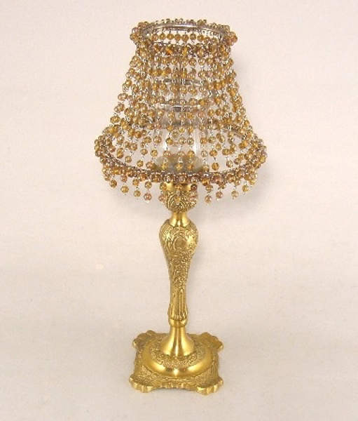 """Picture of Candle Lamp with Amber Bead Shade #KLO1  6.5""""x15""""H"""
