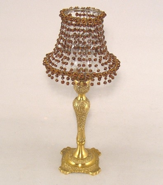 """Picture of Candle Lamp with Dark Amber Bead Shade #KLO2  6.5""""x15""""H"""