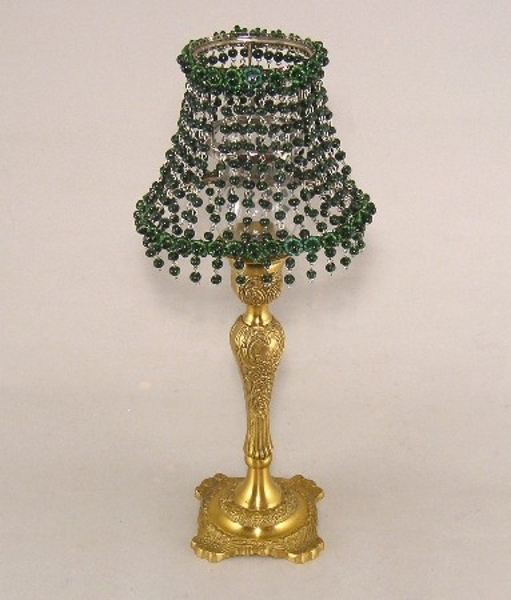 """Picture of Candle Lamp with Green Bead Shade #KLO4  6.5""""x15""""H"""