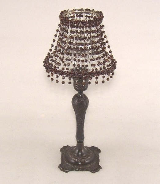"Picture of Candle Lamp with Brown Bead Shade #KLO5  6.5""x15""H"