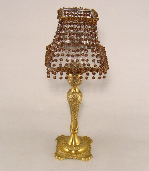"Picture of Candle Lamp with Dark Amber Bead Shade #KLS2  6""x15""H"