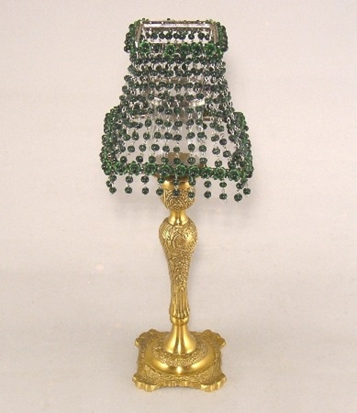 "Picture of Candle Lamp with Green Bead Shade #KLS4  6""x15""H"