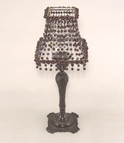 """Picture of Candle Lamp with Brown Bead Shade #KLS5  6""""x15""""H"""