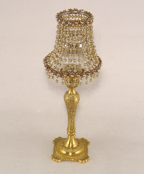 "Picture of Candle Lamp with Shiny Amber Bead Shade #KLR4  5.75""x15""H"