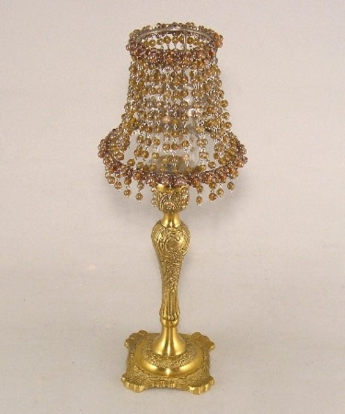 """Picture of Candle Lamp with Light Brown Bead Shade #KLR3  5.75""""x15""""H"""